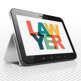 Concepto de la ley: Tableta con el abogado en la exhibición ilustración del vector