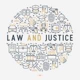 Concepto de la ley y de la justicia en círculo stock de ilustración
