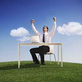 Concepto de la libertad de Celebration Happiness Success del hombre de negocios Fotografía de archivo libre de regalías