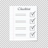 Concepto de la lista de control Para hacer la lista en el papel realista del cuaderno de la escuela Marca de cotejo ilustración del vector