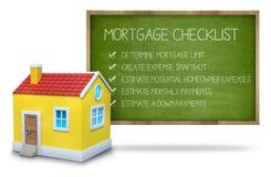Concepto de la lista de control de la hipoteca en la pizarra con 3d Foto de archivo