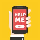 Concepto de la llamada de emergencia 911 Mano que sostiene el teléfono móvil Imagen de archivo