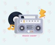 Concepto de la música con las herramientas de la música en estilo plano: Boombox, disco, notas Ilustración del vector Fotos de archivo libres de regalías