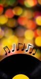 Concepto de la música, disco y nota de la música Foto de archivo libre de regalías