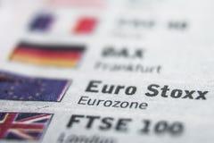 Concepto de la macro de Eurostoxx Imagen de archivo libre de regalías
