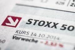Concepto de la macro de Stoxx 50 Foto de archivo libre de regalías