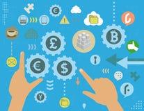 Concepto de la manipulación del intercambio de moneda ilustración del vector