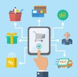 Concepto de la mano del comercio electrónico de las compras ilustración del vector