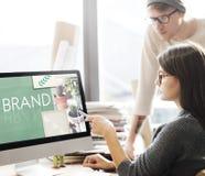 Concepto de la marca registrada del perfil de márketing de la etiqueta de marcado en caliente de la marca fotos de archivo libres de regalías