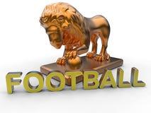 Concepto de la mascota del fútbol del león stock de ilustración