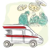 Concepto de la medicina: cirujanos, doctores y enfermeras, ambulancia stock de ilustración