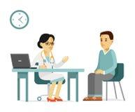 Concepto de la medicina con el doctor y el paciente en estilo plano aislados en el fondo blanco Fotos de archivo libres de regalías