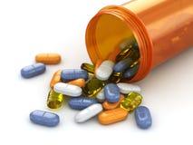 Concepto de la medicina. Píldoras derramadas de la botella de la prescripción. libre illustration