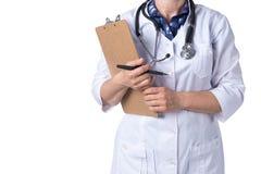 Concepto de la medicina y de la atenci?n sanitaria Doctor con el estetoscopio en la cl?nica, primer fotos de archivo libres de regalías