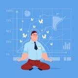 Concepto de la meditación de Sit Yoga Lotus Pose Relaxing del hombre de negocios stock de ilustración