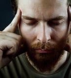 Concepto de la meditación - cara del hombre sereno pacífico Foto de archivo libre de regalías