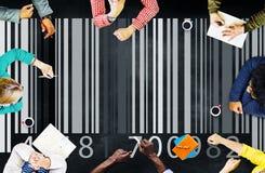 Concepto de la mercancía de la etiqueta de la encripción de la codificación del precio del código de barras foto de archivo libre de regalías