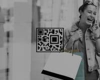 Concepto de la mercancía de la etiqueta de la encripción de la codificación del precio del código de QR imagen de archivo libre de regalías