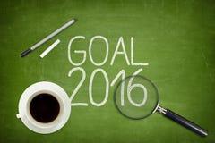 Concepto 2016 de la meta en la pizarra verde con vacío Imágenes de archivo libres de regalías