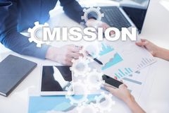 Concepto de la misión en la pantalla virtual Concepto del asunto imágenes de archivo libres de regalías