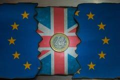 Concepto de la moneda de la bandera del brexit de Reino Unido Fotos de archivo libres de regalías