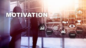 Concepto de la motivación con los elementos del negocio Personas del asunto Concepto financiero en fondo borroso Técnicas mixtas imagen de archivo