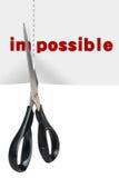Concepto de la motivación (corte imposible a posible) Imagen de archivo libre de regalías