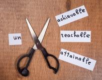 Concepto de la motivación del uno mismo Palabras negativas cortadas con las tijeras foto de archivo libre de regalías