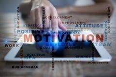 Concepto de la motivación en la pantalla virtual Nube de las palabras Imagen de archivo