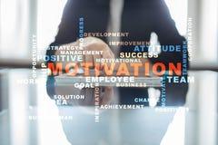 Concepto de la motivación en la pantalla virtual Nube de las palabras Fotos de archivo libres de regalías