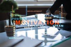 Concepto de la motivación en la pantalla virtual Nube de las palabras Foto de archivo