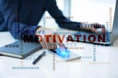 Concepto de la motivación en la pantalla virtual Nube de las palabras Imagenes de archivo