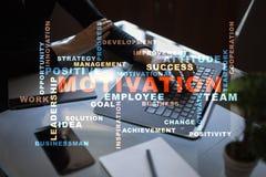 Concepto de la motivación en la pantalla virtual Nube de las palabras Imagen de archivo libre de regalías