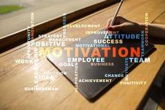 Concepto de la motivación en la pantalla virtual Nube de las palabras Foto de archivo libre de regalías