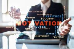 Concepto de la motivación en la pantalla virtual Nube de las palabras Fotografía de archivo