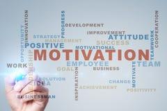 Concepto de la motivación en la pantalla virtual Nube de las palabras Fotografía de archivo libre de regalías
