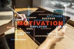 Concepto de la motivación en la pantalla virtual Nube de las palabras Fotos de archivo