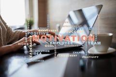 Concepto de la motivación en la pantalla virtual Nube de las palabras Imágenes de archivo libres de regalías