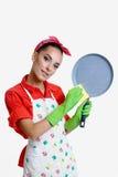 Concepto de la muchacha y de la cocina Fotografía de archivo libre de regalías