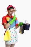 Concepto de la muchacha y de la cocina Foto de archivo libre de regalías