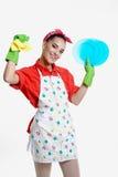 Concepto de la muchacha y de la cocina Foto de archivo