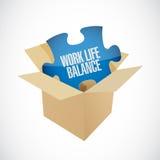 concepto de la muestra de la caja del rompecabezas de la balanza de la vida del trabajo Imagen de archivo