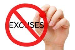 Concepto de la muestra de la prohibición de las excusas Fotos de archivo libres de regalías