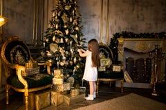 Concepto de la Navidad Año Nuevo Los niños visten para arriba un árbol de navidad Fotografía de archivo libre de regalías