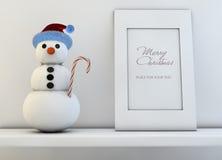 Concepto de la Navidad con el muñeco de nieve Imagenes de archivo