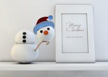 Concepto de la Navidad con el muñeco de nieve Imagen de archivo libre de regalías