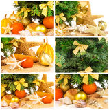 Concepto de la Navidad con la ramita del abeto, mandarinas, cáscaras en la arena, sistema Imágenes de archivo libres de regalías