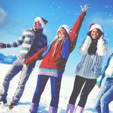 Concepto de la Navidad de las vacaciones de invierno del disfrute de los amigos Imagen de archivo