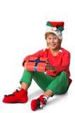 Concepto de la Navidad de las vacaciones de invierno - muchacho en santa Fotos de archivo
