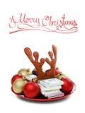 Concepto de la Navidad del regalo, dinero aislado en blanco Imágenes de archivo libres de regalías